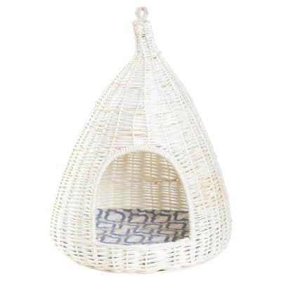 Natural Willow Pet Sleeping Bed Cave Basket For Dog or Cats with Cushion