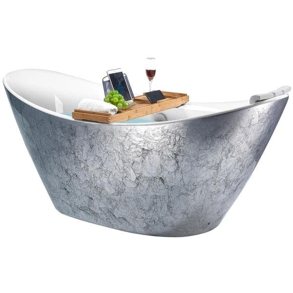 Akdy Freestanding 67 In Acrylic Flatbottom Bathtub Modern Stand Alone Tub Luxurious Spa Tub In Glossy Silver Bt0204 The Home Depot