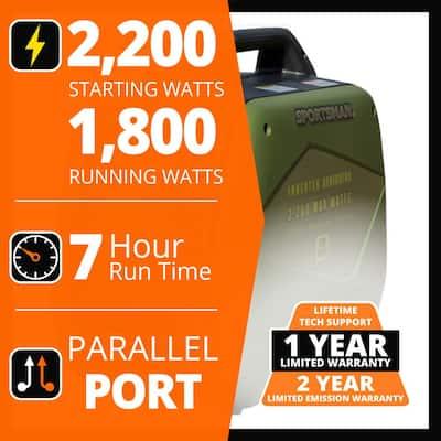 2,200/1,800-Watt Gasoline Powered Recoil Start Portable Digital Inverter Generator with Parallel Capability