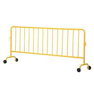 Heavy Duty Yellow Steel Crowd Control Interlocking Barrier with Both Wheeled Feet
