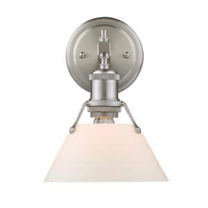 Orwell PW 1-Light Pewter Bath Light with Opal Glass Shade
