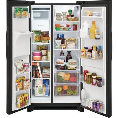 36 in. 25.6 cu. ft. Standard Depth Side by Side Refrigerator in Black