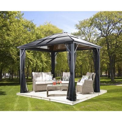 10 ft. D x 12 ft. W Meridien Aluminum Gazebo with UV-Protected Roof Panels and Nylon Mosquito Netting