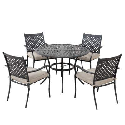 Seattle Black 5-Piece Metal Lattice Outdoor Dining Set with Beige Seat Cushions