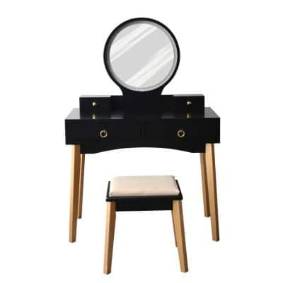 53.1 in. H x 35.4 in. W x 16.5 in. D Black Gold Bedroom Vanity Sets Makeup Table Set with Round Lights Mirror and Stool