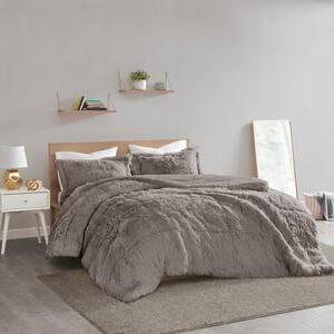 Leena 3-Piece Grey Textured Shaggy Faux Fur Polyester King/Cal King Comforter Set