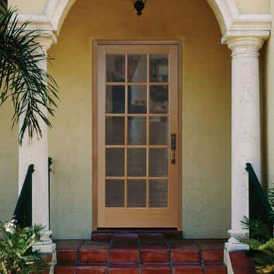 36 in. x 80 in. 15 Lite Unfinished Fir Front Exterior Door Slab