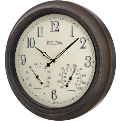 18 in. H x 18 in. W Outdoor Wall Clock with 2-Step Metal Case