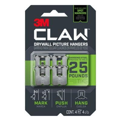 CLAW 25 lbs. Drywall Picture Hanger with Temporary Spot Marker (Pack of 4-Hangers and 4-Markers)