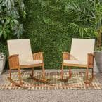 Casa Brown Patina Wood Outdoor Rocking Chair with Cream Cushions (2-Pack)