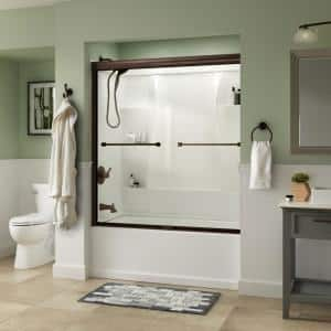 Everly 60 in. x 58-1/8 in. Traditional Semi-Frameless Sliding Bathtub Door in Bronze and 1/4 in. (6mm) Clear Glass