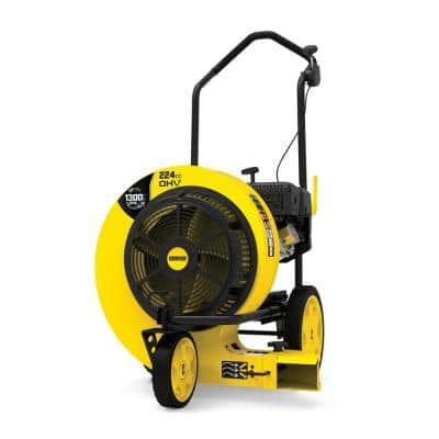 160 MPH 1300 CFM 224 cc Walk-Behind Gas Leaf Blower with Swivel Front Wheel and 90-Degree Flow Diverter