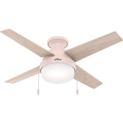 Ristrello 44 in. Indoor Blush Pink Low Profile Ceiling Fan with Light Kit