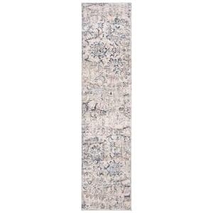 Moondust Beige/Ivory 2 ft. x 8 ft. Floral Runner Rug