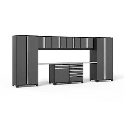 Pro Series 184 in. W x 85.25 in. H x 24 in. D 18-Gauge Steel Garage Cabinet Set in Gray (10-Piece)