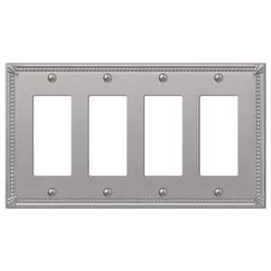 Imperial Bead 4 Gang Rocker Metal Wall Plate - Brushed Nickel