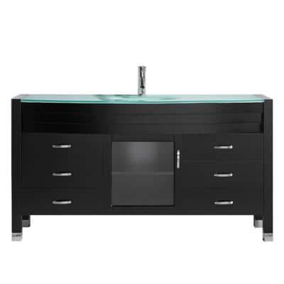 Ava 62 in. W Bath Vanity in Espresso with Glass Vanity Top in Aqua Tempered Glass with Round Basin and Faucet