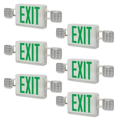 60-Watt Equivalent Integrated LED White with Green Letters Emergency Light Exit Sign Combo Battery Backup (6-Pack)