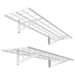 12 in. x 48 in. 2-Pack White Steel Garage Wall Shelves with Brackets