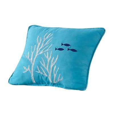 "Blue ""Coral Reef"" Coastal Microfiber 16 in. W x 12 in. L Decorative Throw Pillow"