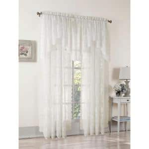 Ivory Solid Lace Rod Pocket Sheer Curtain - 58 in. W x 84 in. L