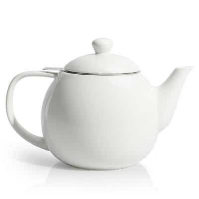 Sweese Porcelain Tea Pot With Stainless Steel Infuser, 27 Ounce, White