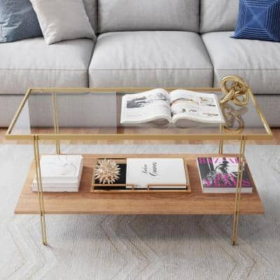 Asher 39 in. Gold/Oak/Clear Medium Rectangle Glass Coffee Table with Shelf