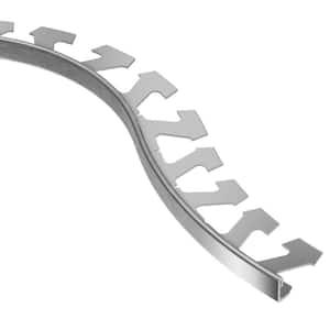 Jolly Brushed Chrome Anodized Aluminum 1/2 in. x 8 ft. 2-1/2 in. Metal Radius Tile Edging Trim