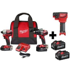 M18 18-Volt Lithium-Ion Brushless Cordless Hammer Drill/Impact/Threaded Rod Cutter Combo Kit (3-Tool) with 4-Batteries