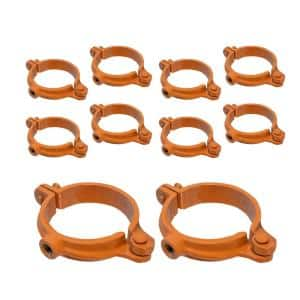 1/2 in. Hinged Split Ring Pipe Hanger, Copper Epoxy Coated Clamp with 3/8 in. Rod Fitting, for Hanging Tubing (10-Pack)