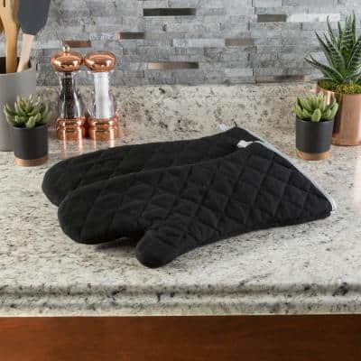 Quilted Cotton Black Heat/Flame Resistant Oversized Oven Mitts (2-Pack)