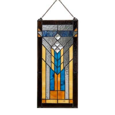 Brown Mission Style Stained Glass Window Panel