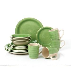 16-Piece Bamboo Green Porcelain Dinnerware Set (Service for 4)