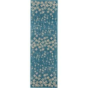 Tranquil Turquoise 2 ft. x 7 ft. Floral Contemporary Runner Rug