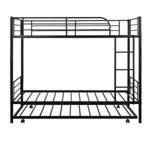 Black Twin -Over- Twin Metal Bunk Bed Daybed With Trundle
