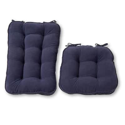 Hyatt Denim 2-Piece Jumbo Rocking Chair Cushion Set