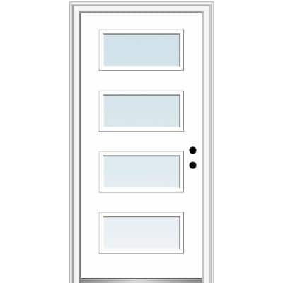 36 in. x 80 in. Celeste Left-Hand Inswing 4-Lite Clear Low-E Glass Painted Steel Prehung Front Door on 4-9/16 in. Frame