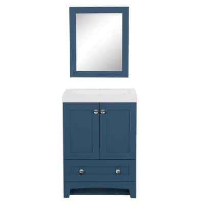 Thornbriar 24.50 in. W x 18.75 in. D x 34.38 in. H Single Sink Bath Vanity in Admiral Blue with White Top and Mirror