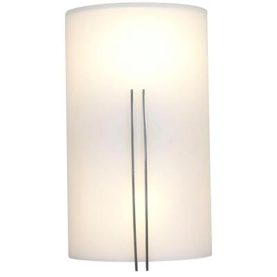 Prong 2 Light Brushed Steel Sconce with White Glass Shade