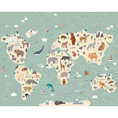 Illustration of a Children's World Map Wall Mural