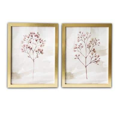 Blush Branches Framed Botanical Nature Art Print 20 in. x 16 in. Each (Set of 2)