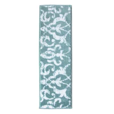 Floral Collection Teal 9 in. x 28 in. Polypropylene Stair Tread Cover (Set of 4)
