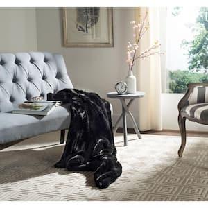Faux Mink 50 in. x 60 in. Black Onyx Throw Blanket