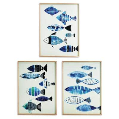 Aegean Sea Fish Framed Nature Wall Art with Metallic Silver Detail Includes 3-Designs 32 1/2 in. x 24 1/2 in. (Set of 3)