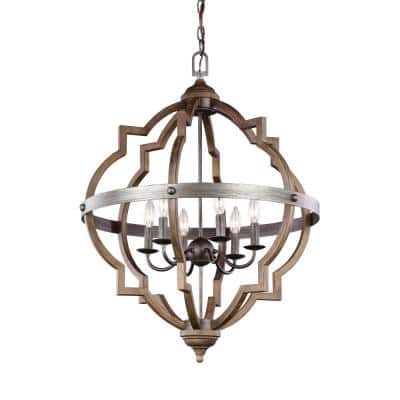 Socorro 25 in. W. 6-Light Weathered Gray and Distressed Oak Hall-Foyer Pendant with Dimmable Candelabra LED Bulbs