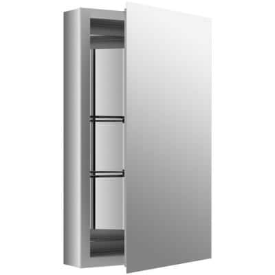 Flat Edge 15 in. x 26 in. Recessed/Surface Mount Soft Close Medicine Cabinet with Mirrored Door