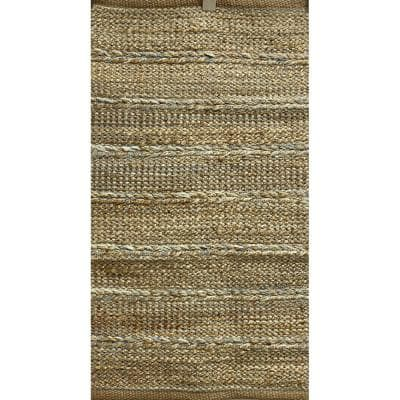 Woven Dusty Blue 2 ft. x 3 ft. Braided Natural Jute Area Rug