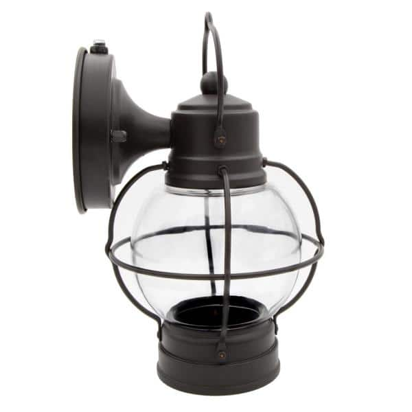 Maxxima 1 Light Brown Led Outdoor Wall Lantern Sconce With Dusk To Dawn Sensor Mel 12250bw The Home Depot