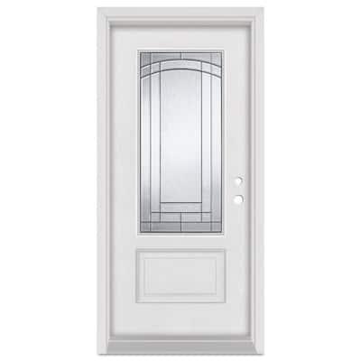 36 in. x 80 in. Chatham Left-Hand Patina Finished Fiberglass Mahogany Woodgrain Prehung Front Door