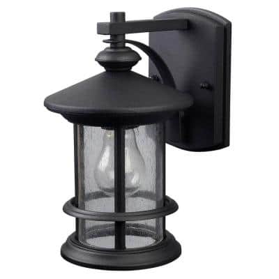 Ryder 1-Light Black Outdoor Wall Lantern Sconce with Seeded Glass